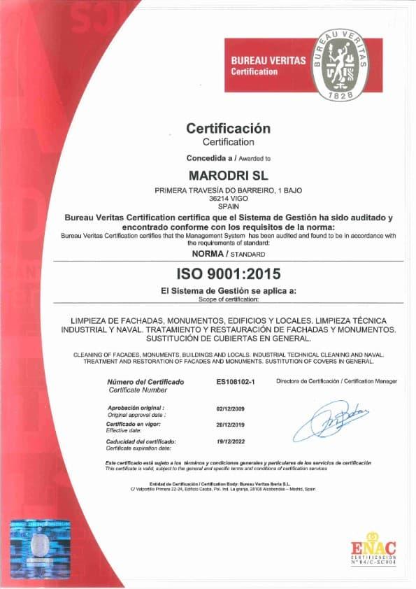 ISO 9001 hasta 19 12 22 001 Certificaciones