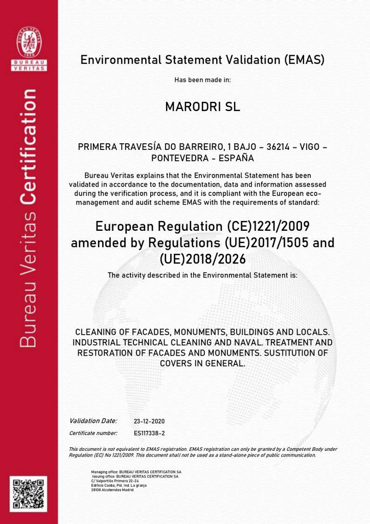 4001625 CERTIFICADO Modelo EMASIII 2026 19 09 23 MARODRI SL INGLES page 0001 1 Certificaciones